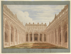 Courtyard of the palace of Raja Tirumala Nayyak (1625-59), Madura. Drawn by W.G.P. Jenkins, William W. Whelpdale and Ravanat Naik